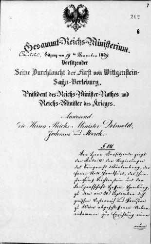 Protokoll der 180. Sitzung des Gesamtreichsministeriums