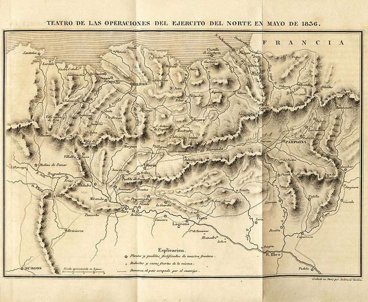 Zeitgenössische Karte des nordspanischen Kriegsschauplatzes im Feldzug von 1836